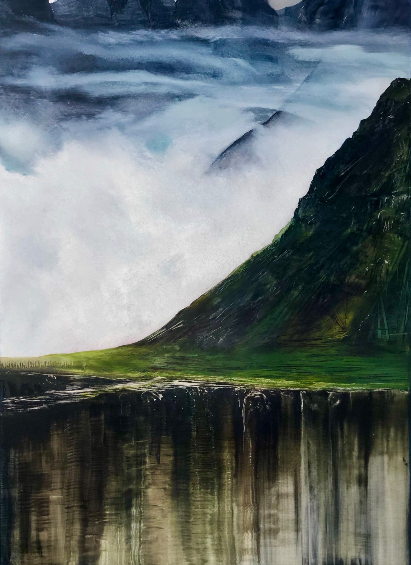 Dreamscape #2, Contemporary oil painting on metal of Iceland mountains and the yin and yang, Fine Art by Cynthia McLoughlin