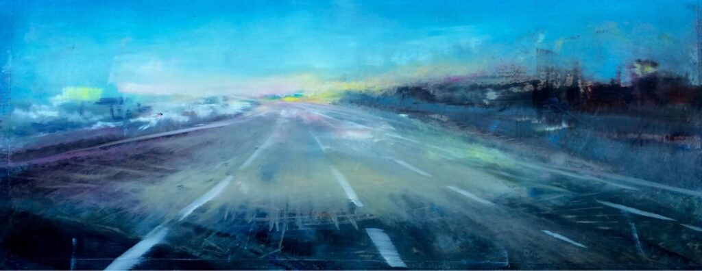 Early Morning Road to JFK, Contemporary oil painting on steel inspired by a trip to the airport on a cold morning, Fine Art by Cynthia McLoughlin
