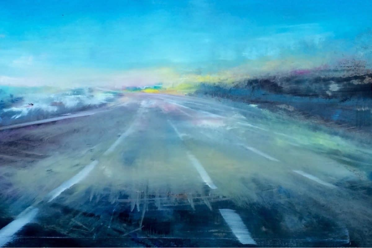 Early Morning Road to JFK - Contemporary oil painting by Cynthia McLoughlin