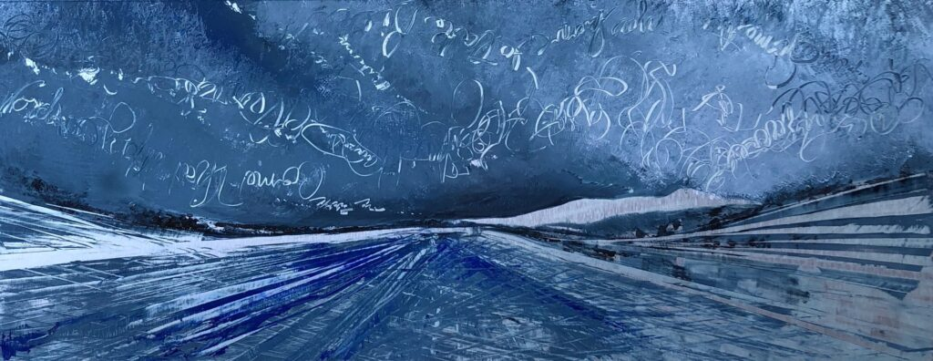 Words of positivity are inverted into the clouds of the deep blue sky while the road rockets you to the horizon in this contemporary storm painting.