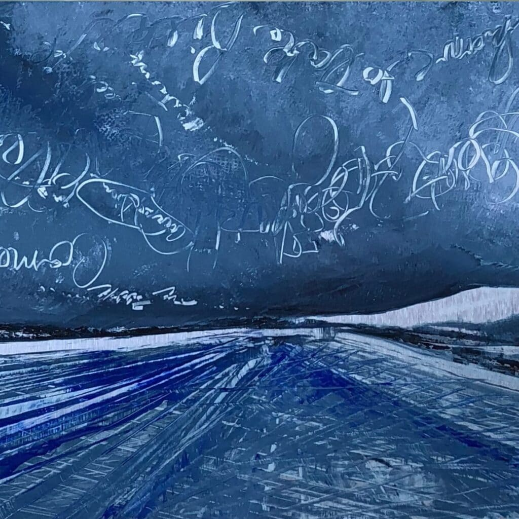 Electrical Storm, Contemporary oil painting on metal of positive phrases in the clouds, Fine Art by Cynthia McLoughlin