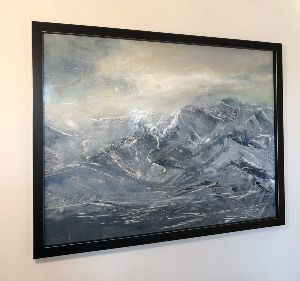Elevated Dream, Contemporary oil painting on metal of mystical, magical mountains, Fine Art by Cynthia McLoughlin