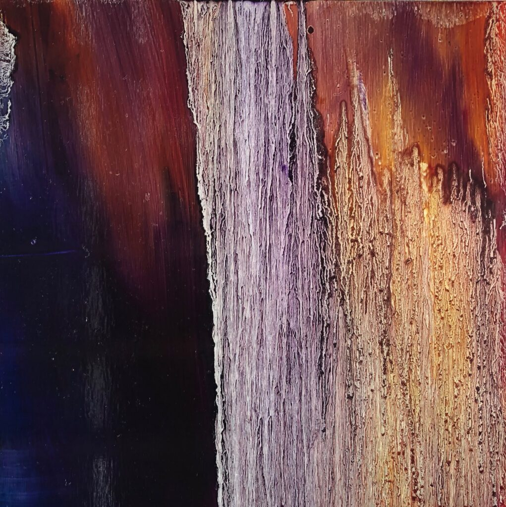 Falling Up, Contemporary oil painting on metal, abstract art with aubergine and burnt orange color, Fine Art by Cynthia McLoughlin