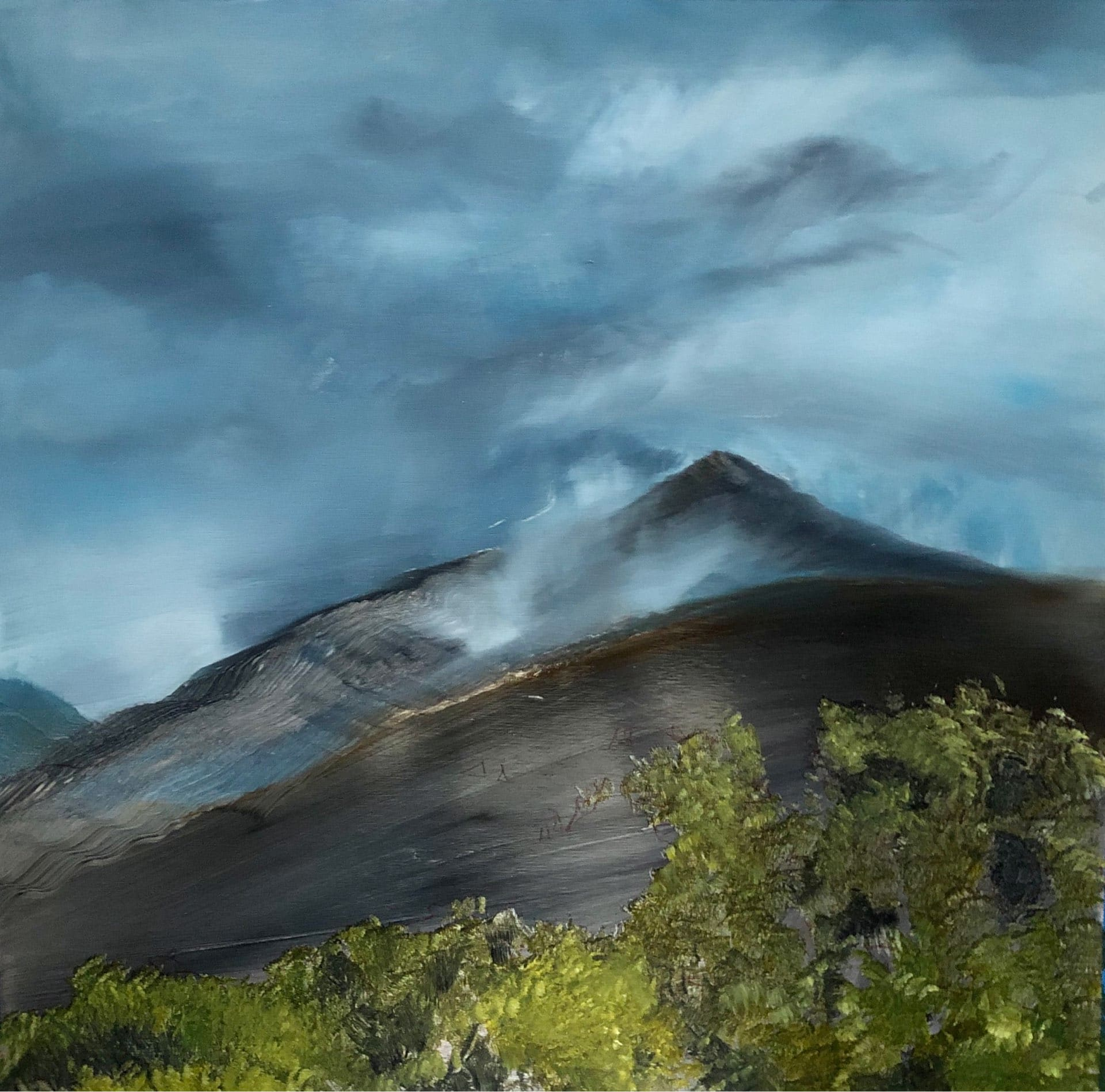 Fire on the Mountain, Contemporary oil painting on metal depicting fires in dry climates, Fine Art by Cynthia McLoughlin