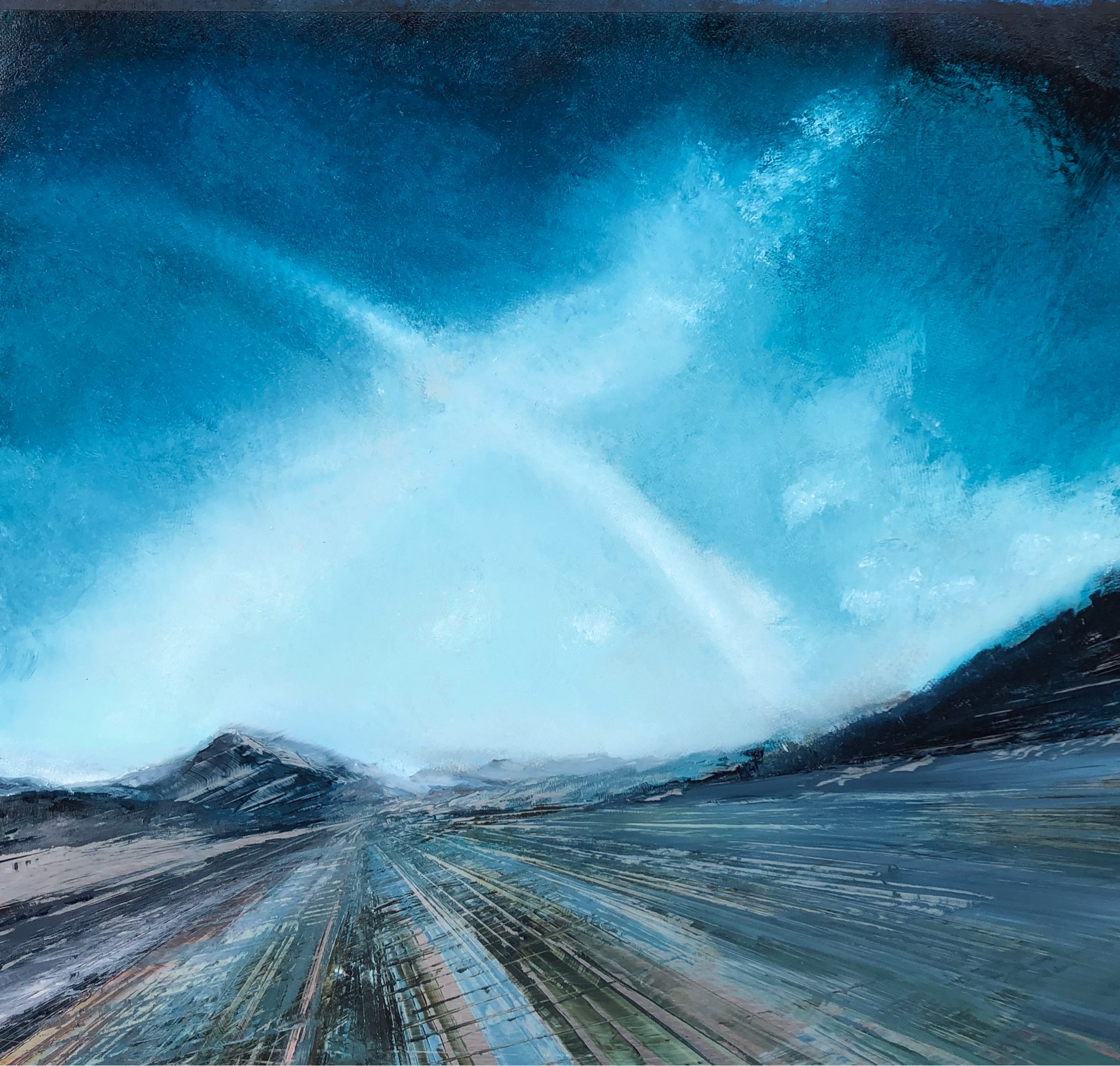 Full Tilt, Contemporary oil painting on metal of an expansive sky over a mountain road, Fine Art by Cynthia McLoughlin