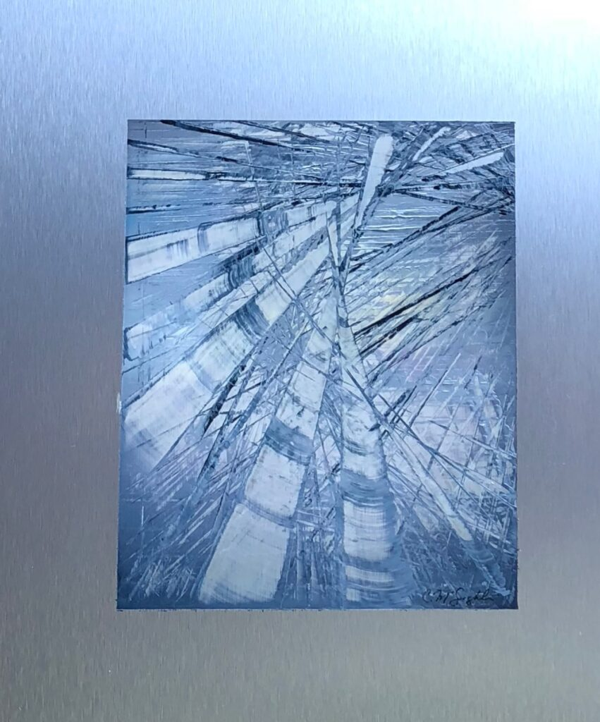 Labyrinth, Contemporary oil painting on metal, abstract monochromatic blue with geometric shapes, Fine Art by Cynthia McLoughlin