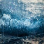 Moon Shadow, Contemporary oil painting on metal of an abstract storm over the landscape, Fine Art by Cynthia McLoughlin