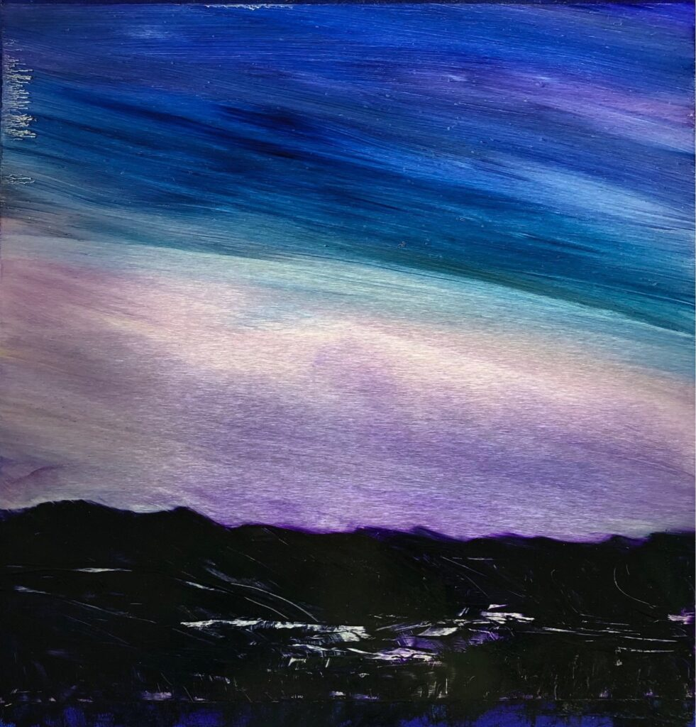 Moonlight Reflections, Contemporary oil painting on metal of a blue sky fading to violet above dark mountains, Fine Art by Cynthia McLoughlin
