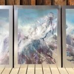 Mountain Triptych #1, Contemporary large commissioned oil painting on metal of a mountain, Fine Art by Cynthia McLoughlin