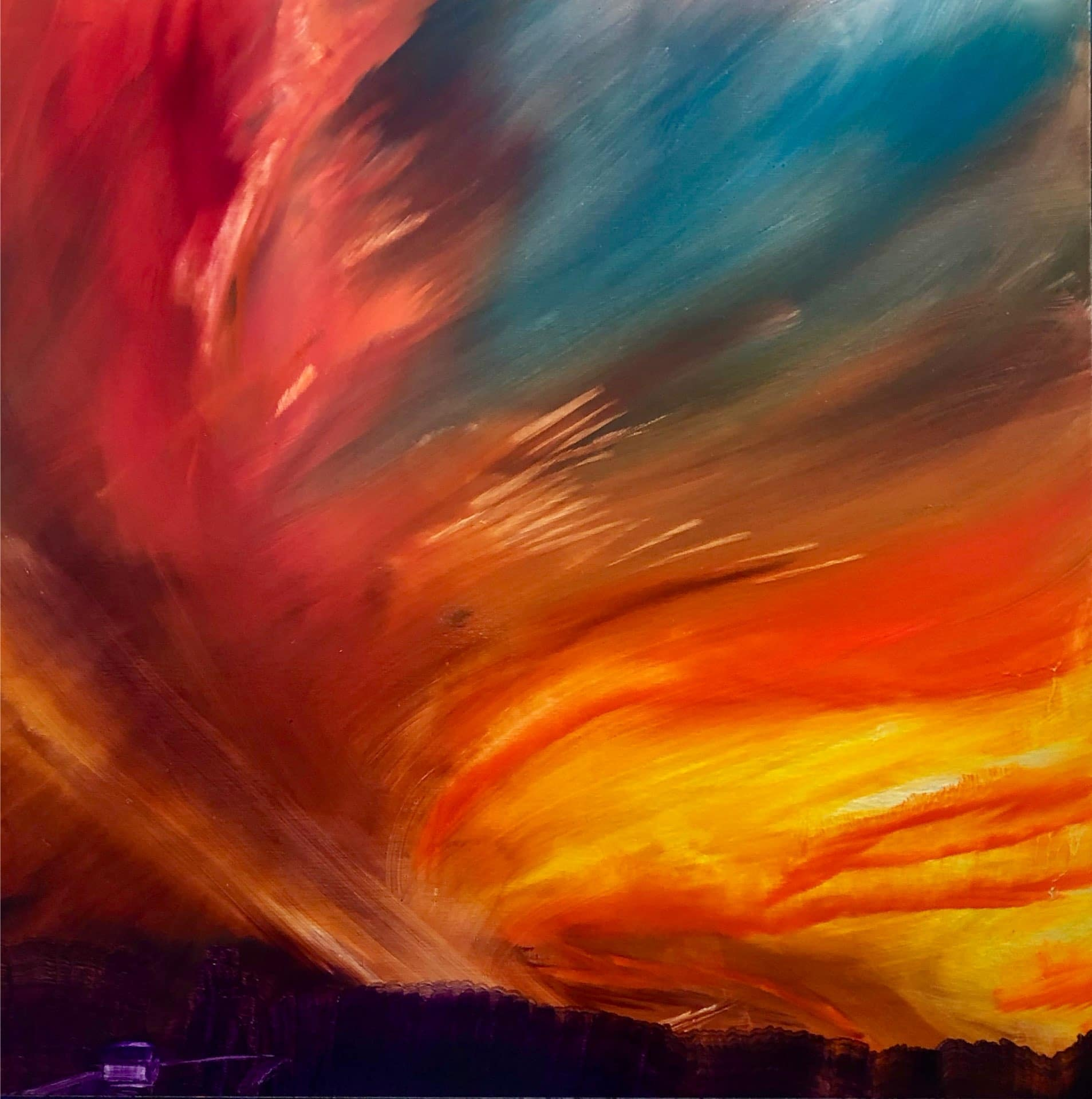 On the Way Home, Contemporary oil painting on metal of sunset with vibrant red and orange sky and deep purple shadow, Fine Art by Cynthia McLoughlin