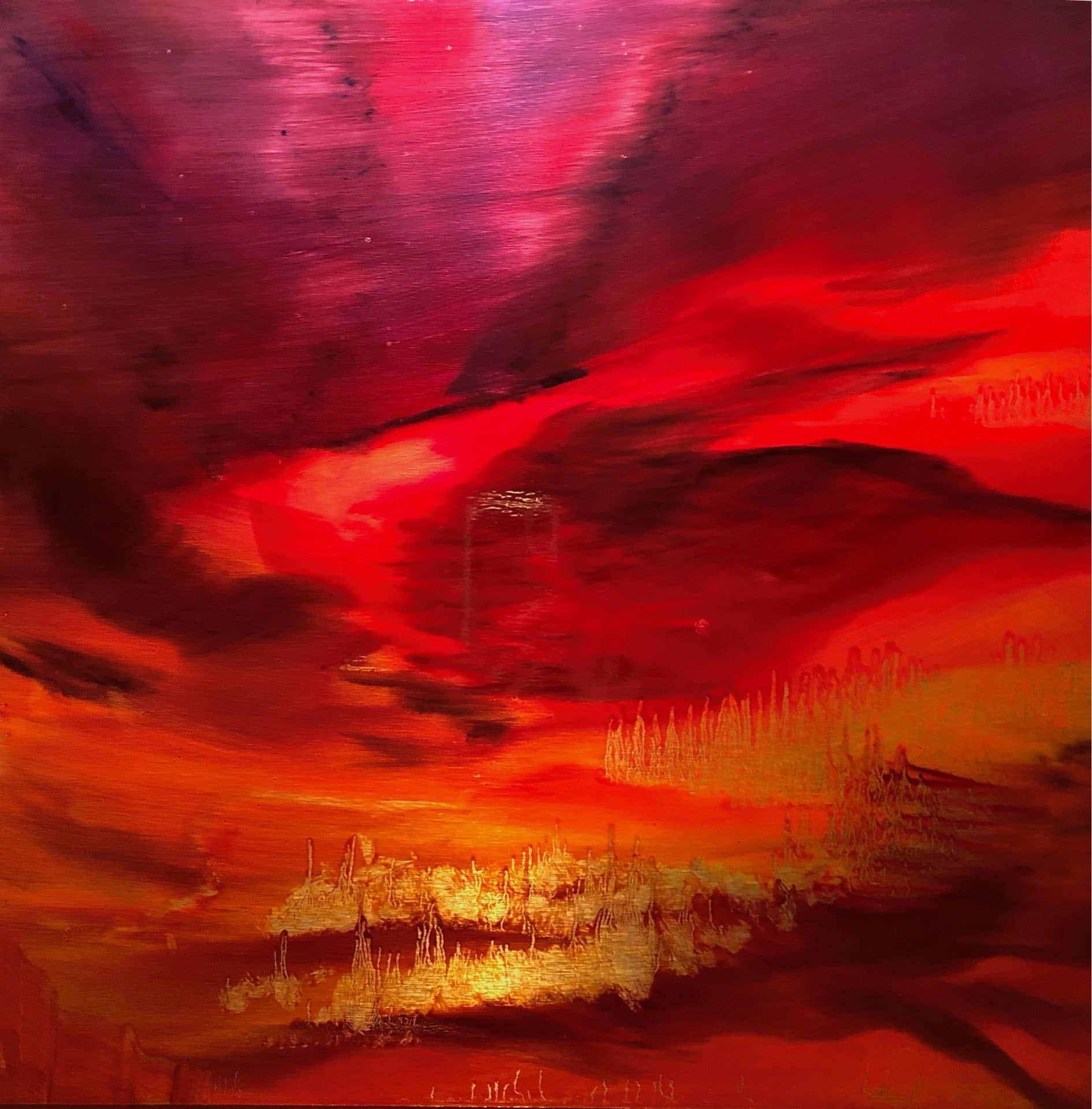 Red Sky at Night #2, Contemporary oil painting on metal of an abstract red, orange and purple sunset sky, Fine Art by Cynthia McLoughlin