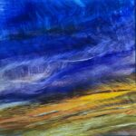 Ribbons of Blue, Contemporary oil painting on metal of dramatic deep blue sky closing in on the last golden light, Fine Art by Cynthia McLoughlin