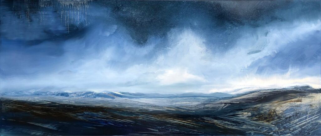 Safe Passage, Contemporary oil painting on metal of storms rolling across the mountains creating peace, Fine Art by Cynthia McLoughlin
