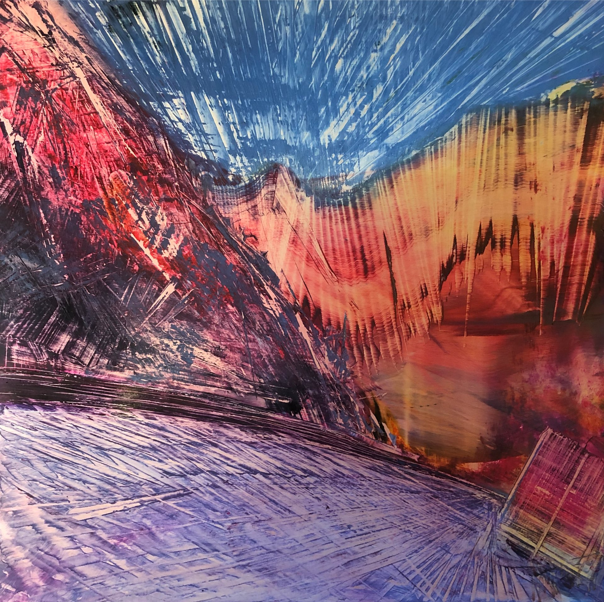 Sidewinder, Contemporary oil painting on metal of roads and a journey, Fine Art by Cynthia McLoughlin