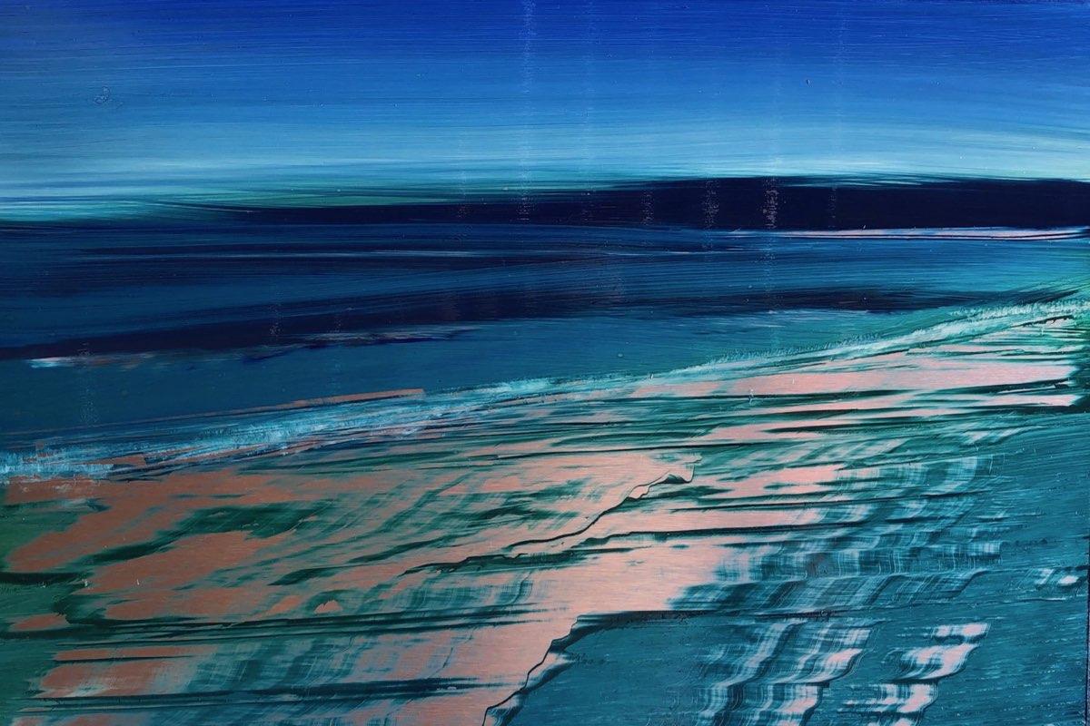 Silver Beach - Miami Beach Oil Painting - Cynthia McLoughlin
