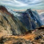 Silver Falls, Contemporary oil painting on metal of Fiordland National Park in New Zealand, Fine Art by Cynthia McLoughlin