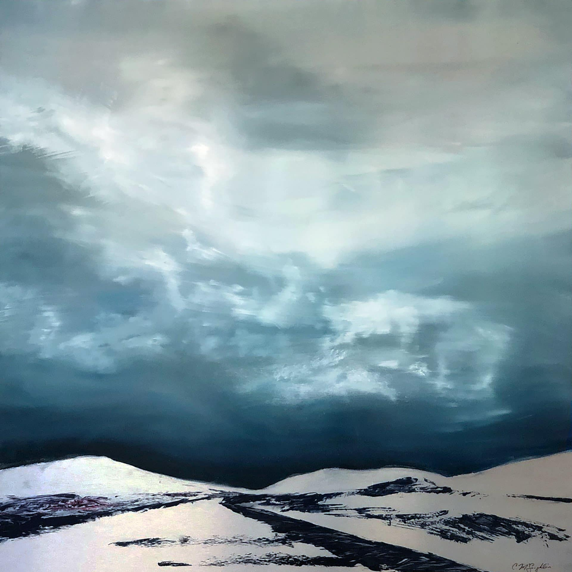 Silver Road, Contemporary oil painting on metal of stormy sky over mountains, Fine Art by Cynthia McLoughlin