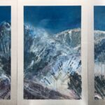 Silvery Moon Triptych, Contemporary oil painting on metal inspired by moonlit mountains in the Wasatch Back, Fine Art by Cynthia McLoughlin
