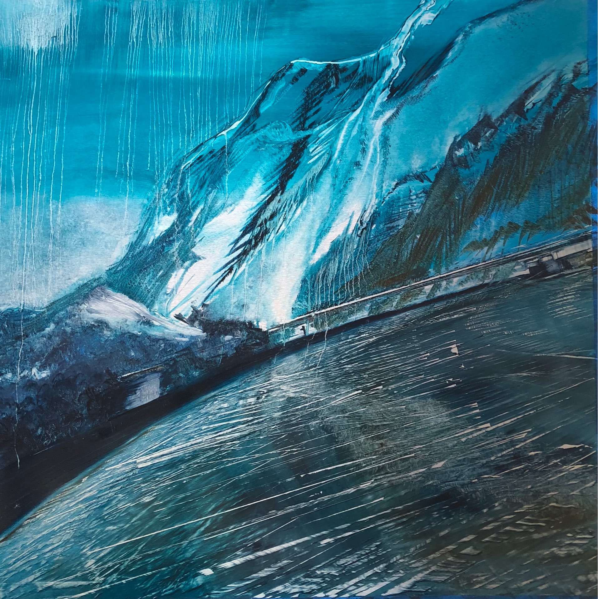 Skating on the Bridge, Contemporary oil painting on metal of mountains and I-80 over Parley's Pass, Fine Art by Cynthia McLoughlin