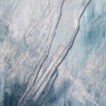 Sky Scrapers, Contemporary oil painting on metal, abstract art, monochromatic color wash in blues and grey, Fine Art by Cynthia McLoughlin
