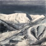 Snow Day, Contemporary oil painting on metal of Square Top mountain a favorite Utah ski area, Fine Art by Cynthia McLoughlin