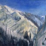 Snow Squalls, Provo Canyon, Contemporary oil painting on metal of mountains near Sundance Resort, Fine Art by Cynthia McLoughlin
