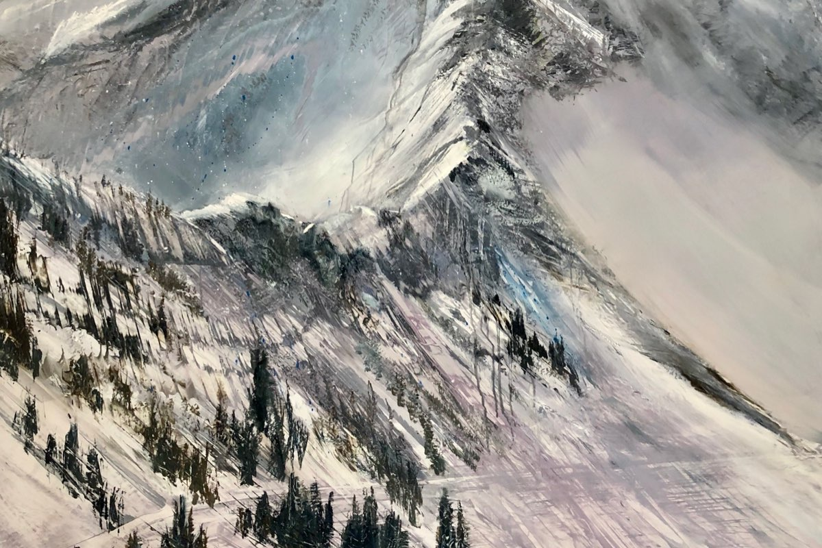 Snowbird Melting, Contemporary oil painting on metal of the dramatic ridge-lines at Snowbird Ski Resort, Fine Art by Cynthia McLoughlin
