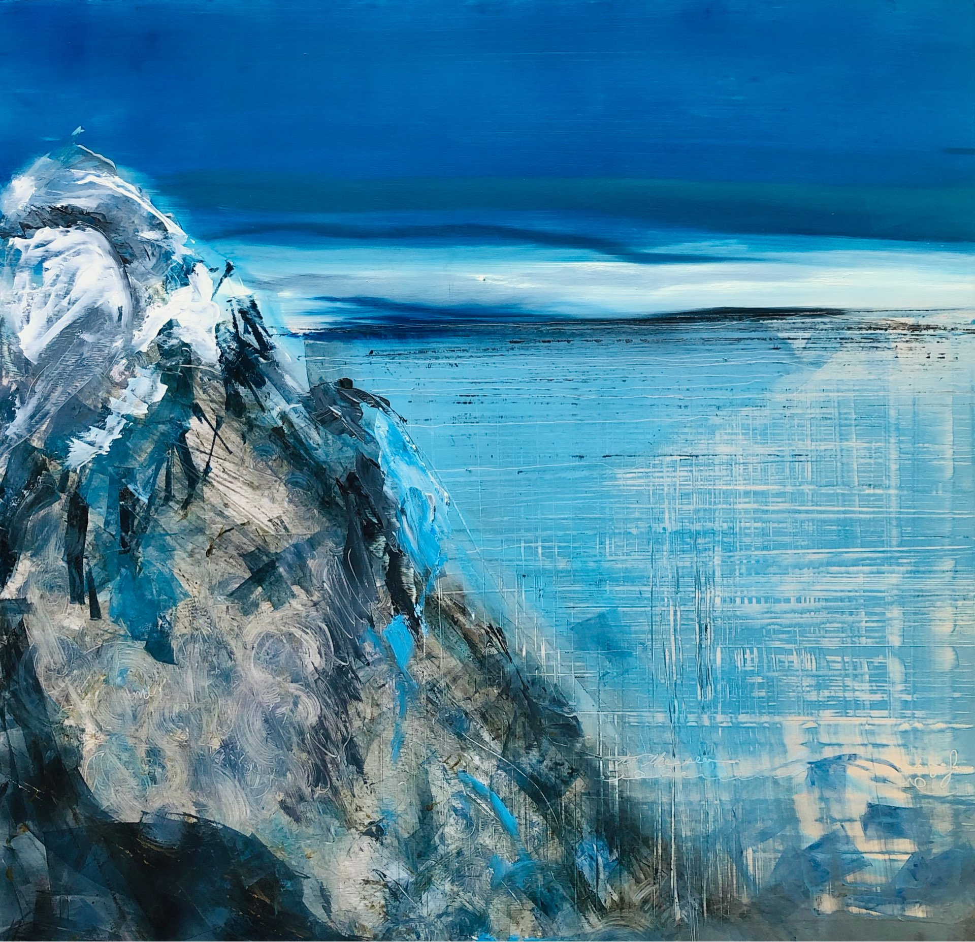 Spring Thaw, Contemporary oil painting on metal of an Iceland mountain, Fine Art by Cynthia McLoughlin