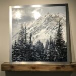Stillness in Motion, Contemporary oil painting on metal of Utah's Mount Superior and silent evergreen trees, Fine Art by Cynthia McLoughlin