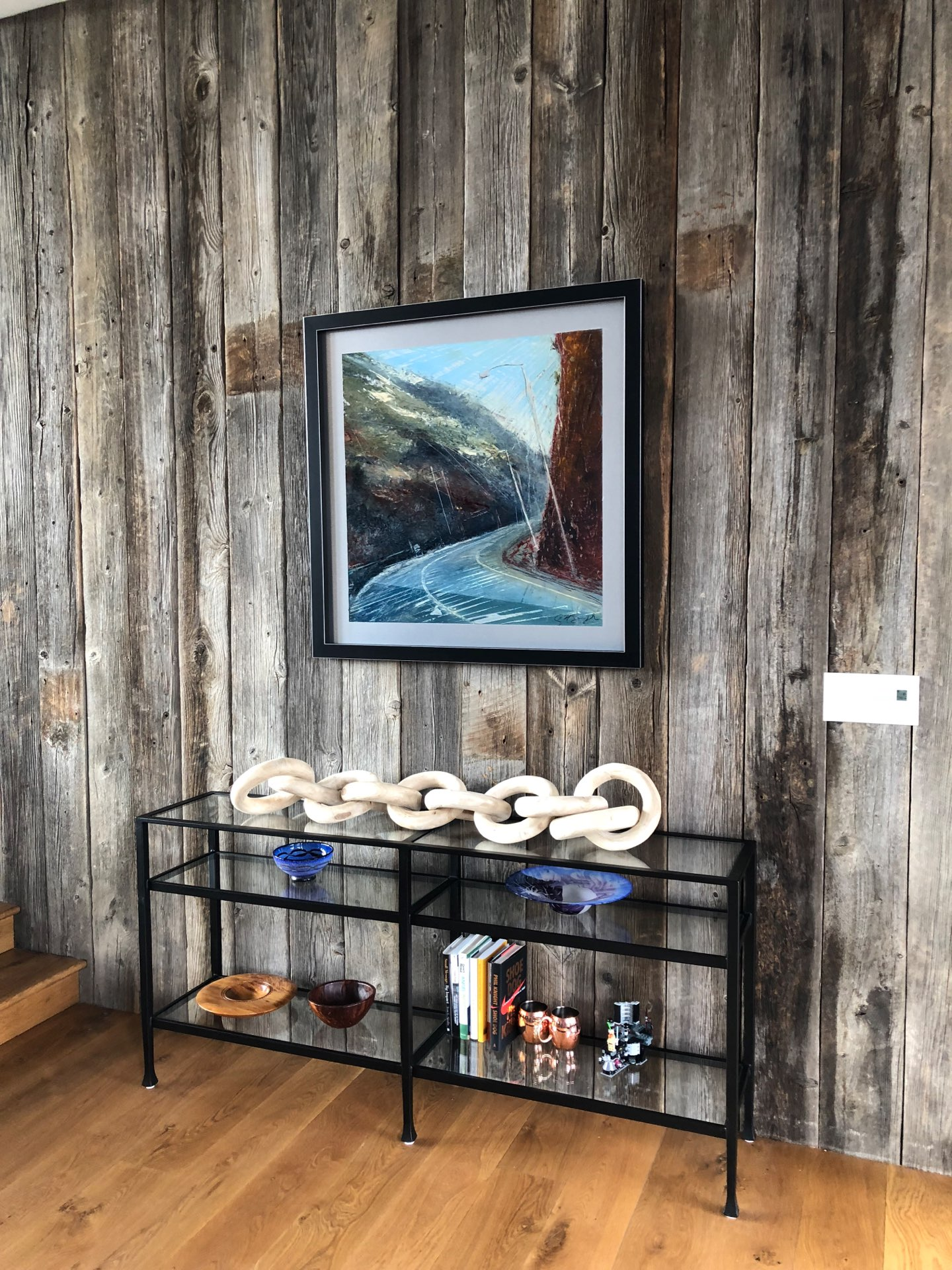 Switchbacks, Contemporary oil painting on metal of the twists and turns on a mountain drive, Fine Art by Cynthia McLoughlin