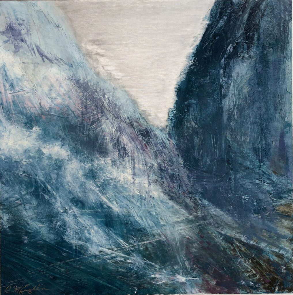 The Space Between, Provo Canyon, Contemporary oil painting on metal of hope in the mountain pass, Fine Art by Cynthia McLoughlin
