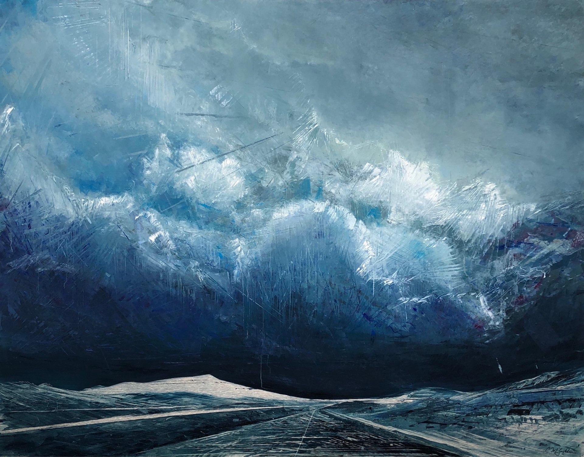 Through the Storm, Contemporary oil painting on metal of a dramatic storm changing moment to moment, Fine Art by Cynthia McLoughlin