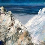 Grandeur, View from 14,180', Contemporary oil painting on metal of a mountain peak with clouds below, Fine Art by Cynthia McLoughlin