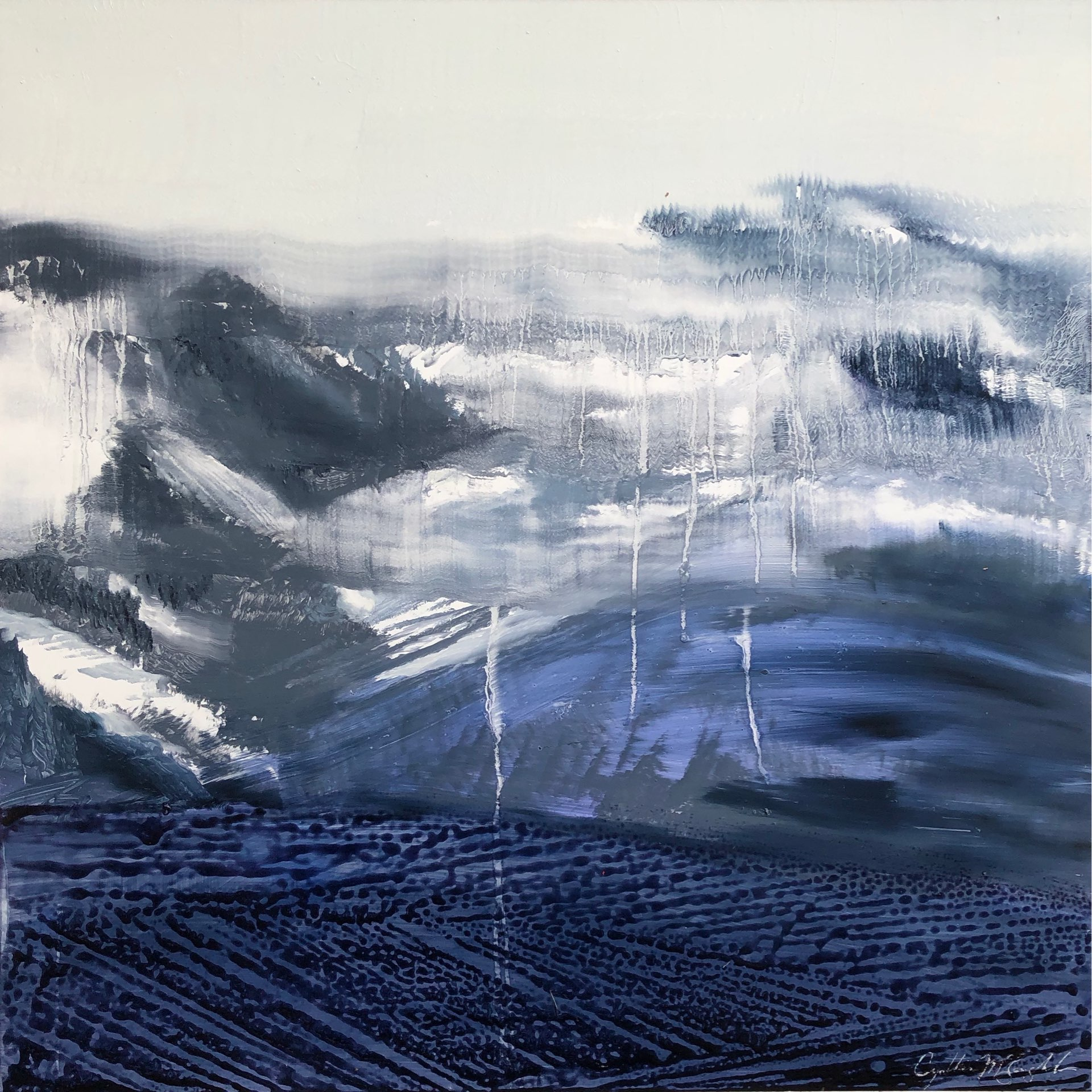 Wasatch Fog, Contemporary oil painting on metal of the Wasatch Back mountain range in spring fog, Fine Art by Cynthia McLoughlin