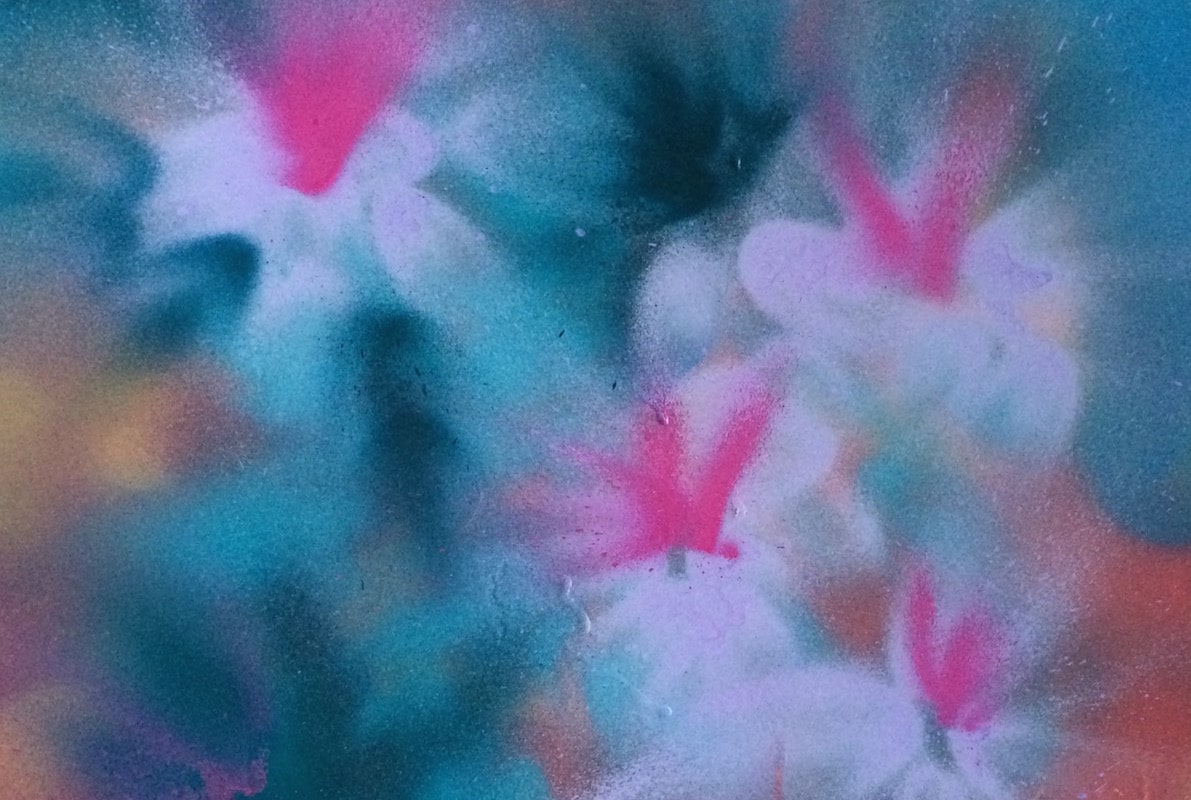 Contemporary spray painting on metal of flora and fauna by Cynthia McLoughlin