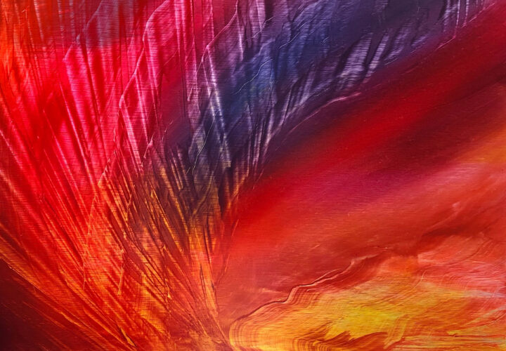 Contemporary abstract oil painting on metal of a fiery sunset by artist Cynthia McLoughlin of a flaming, dramatic sunset.