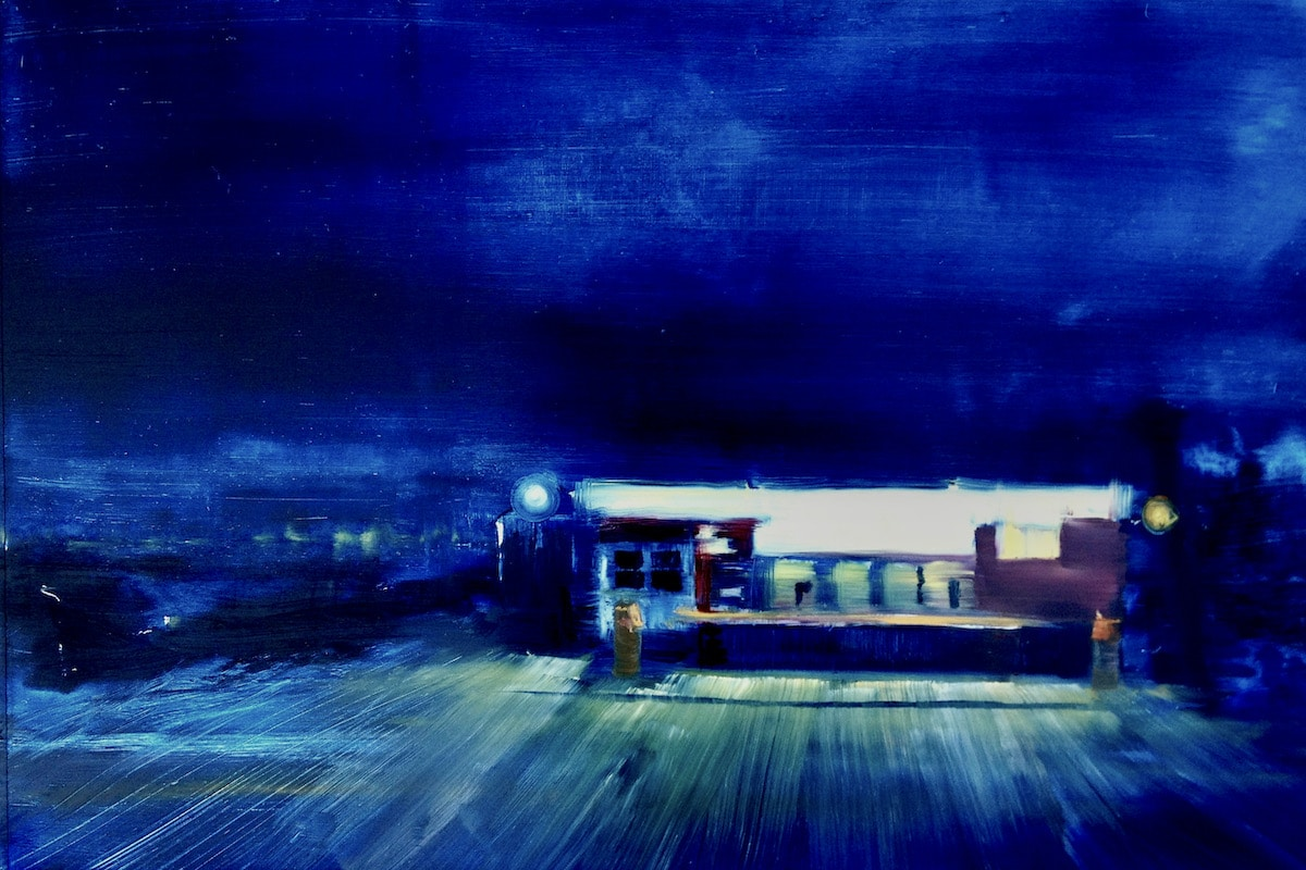 Contemporary oil painting on metal of a quiet diner at night by Cynthia McLoughlin