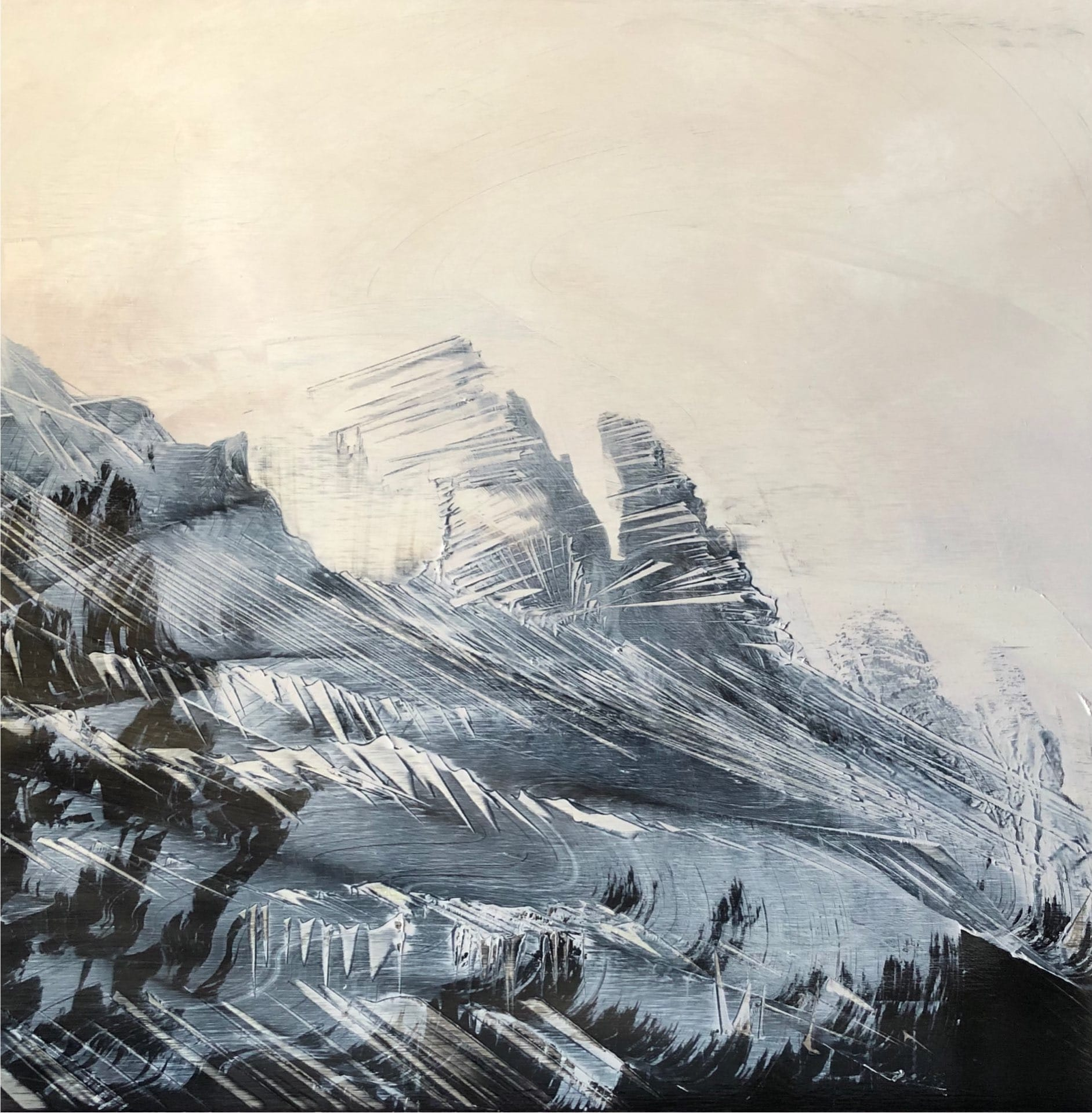 Misty Ridgeline, Contemporary oil painting on metal of mountains in mist and fog, Fine Art by Cynthia McLoughlin