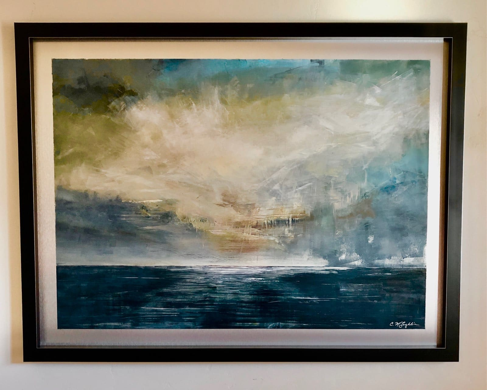 September, Contemporary oil painting on metal of white clouds among dark stormy clouds over lake, Fine Art by Cynthia McLoughlin