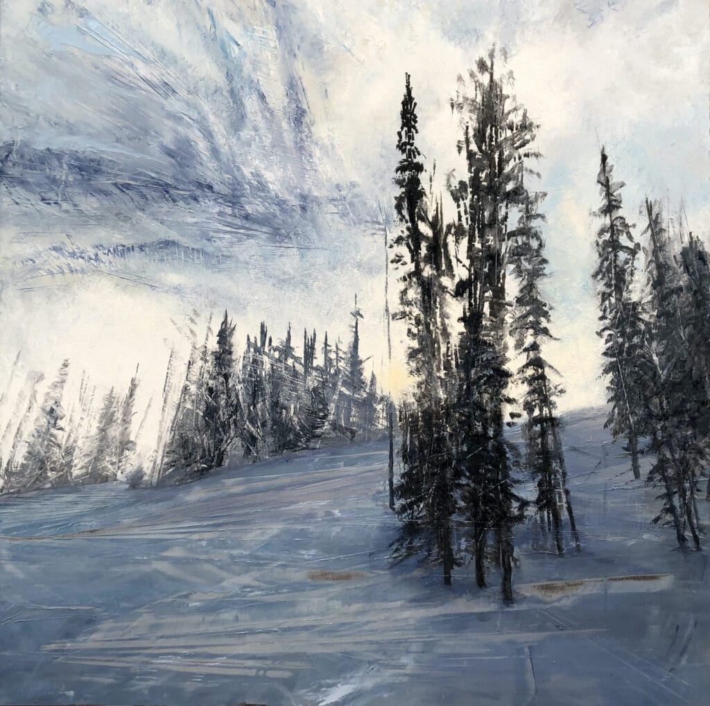 An original mountain scape oil painting on metal panel by artist Cynthia McLoughlin. Depicts a look back up a snowy mountain trail at the sun through the stoic trees.