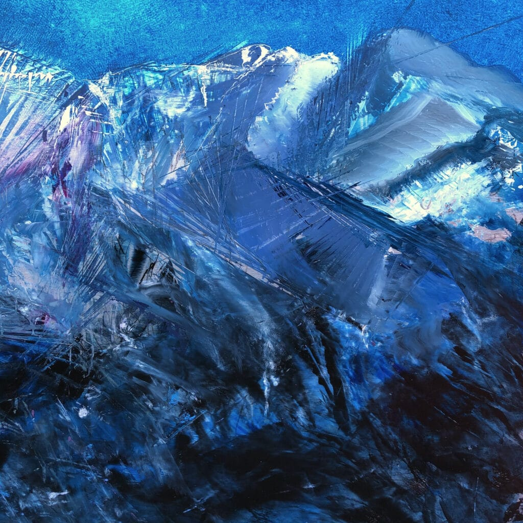Contemporary oil painting on metal, detail of mountains with a moonlit sky by Cynthia McLoughlin