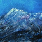 Contemporary oil painting on metal of mountains with a moonlit sky by Cynthia McLoughlin