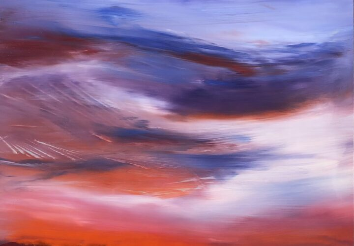 An original cloudscape oil painting on metal panel by artist Cynthia McLoughlin of an orange horizon with wispy blue/purple clouds.