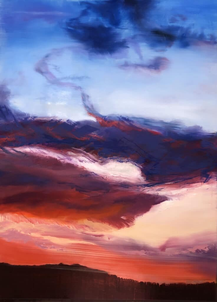 An original oil painting on metal panel by artist Cynthia McLoughlin of a flaming, dramatic sunset with purple/blue clouds..