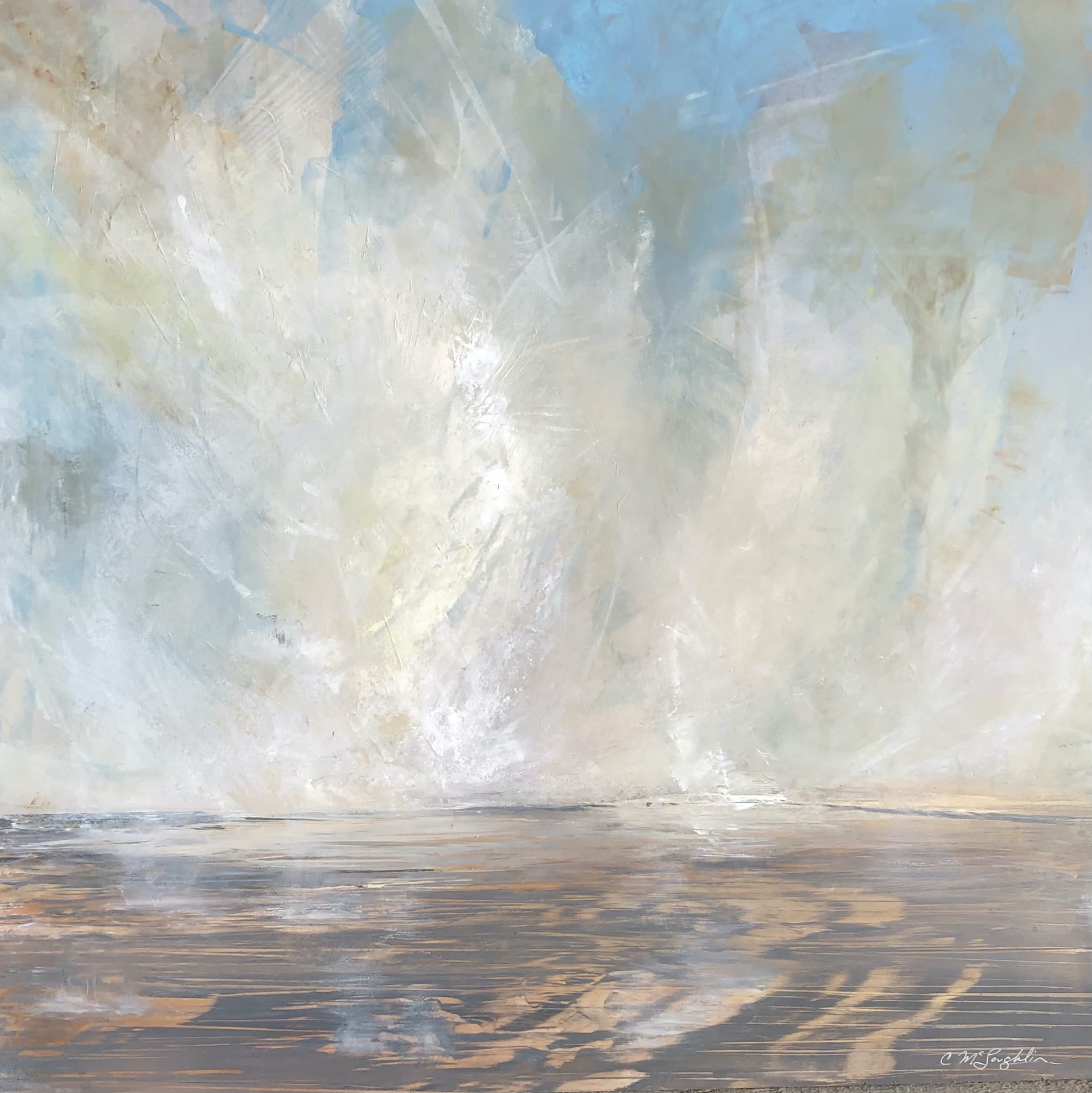 An original oil painting on metal panel by artist Cynthia McLoughlin of steam rising from the earth out of Excelsior Geyser in Yellowstone National Park.,