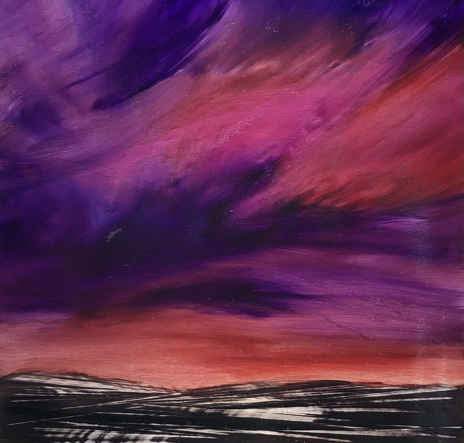 An original cloudscape oil painting on metal by artist Cynthia McLoughlin of an burnt orange horizon with wispy pink/purple clouds.