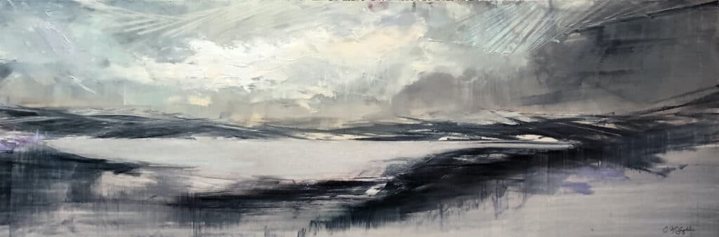 Contemporary abstract oil painting of a rain cloud hovering over a mountain lake by artist Cynthia McLoughlin