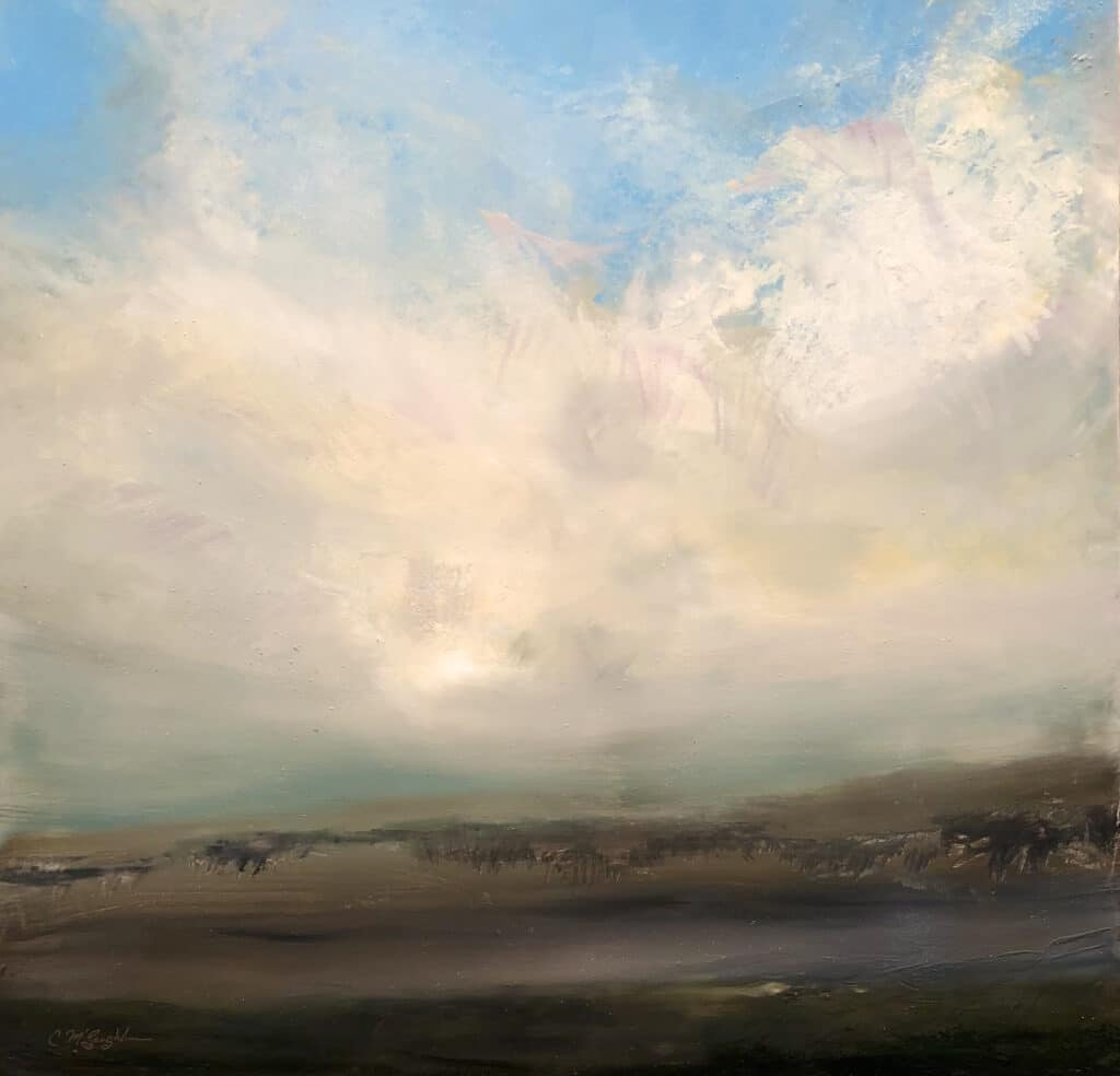 An original oil painting on metal panel by artist Cynthia McLoughlin of an exploding cloudscape over a ghostly buffalo herd in the wild.